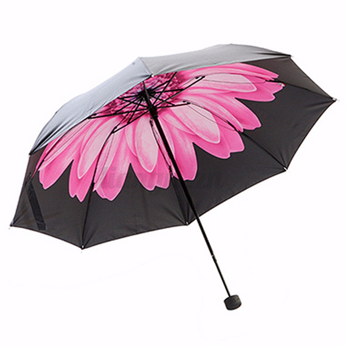 parapluies fleur noir pliant compact imprim invers anti soleil uv vent parasol ebay. Black Bedroom Furniture Sets. Home Design Ideas