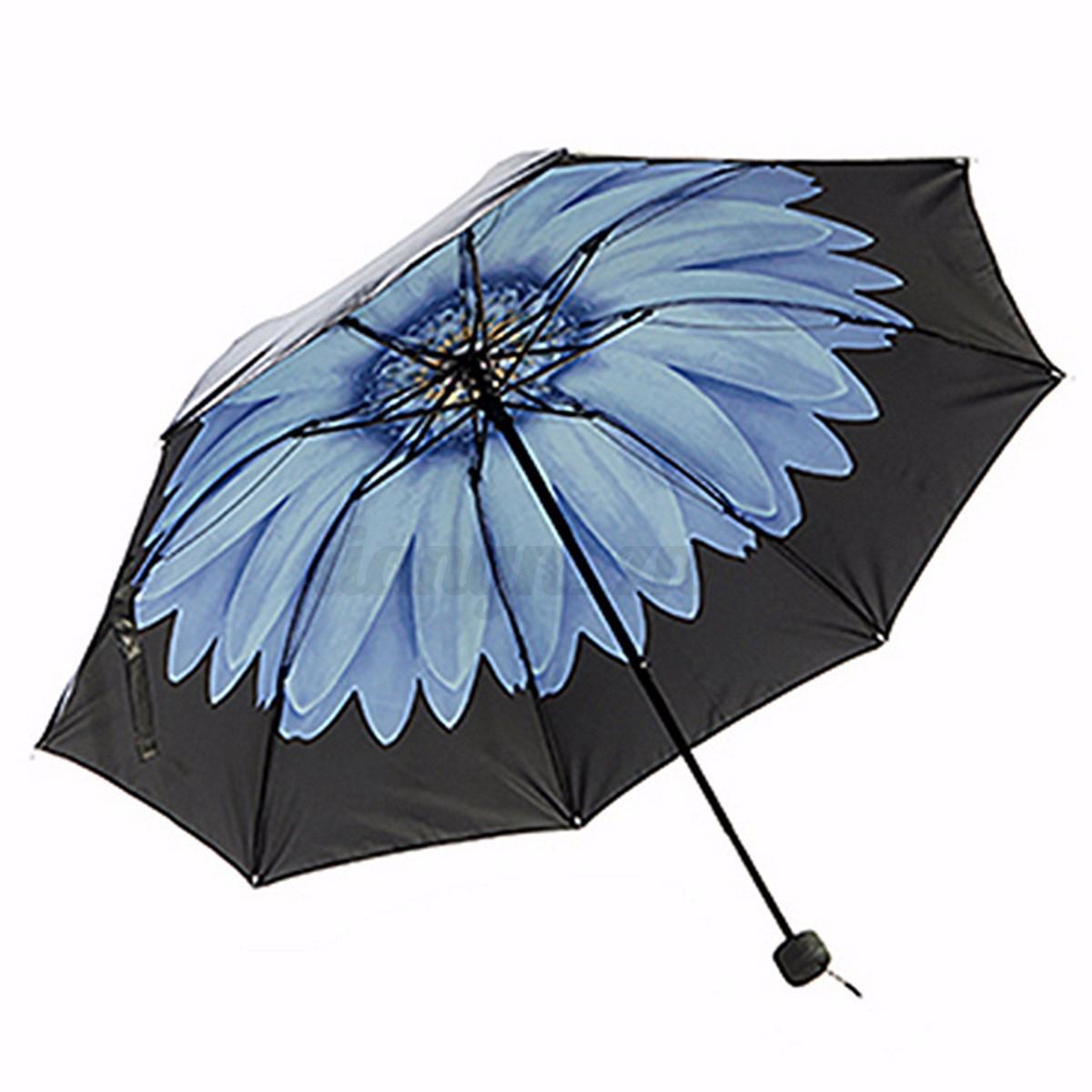 parapluies fleur noir pliant compact imprim invers anti soleil uv vent parasol ebay. Black Bedroom Furniture Sets. Home Design Ideas