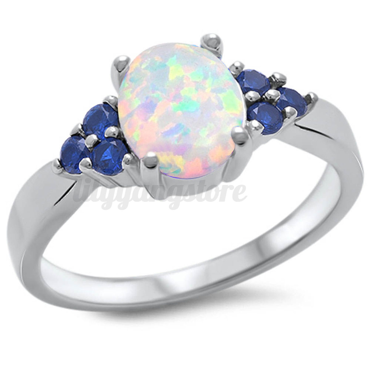 white opal sapphire sterling silver plated ring