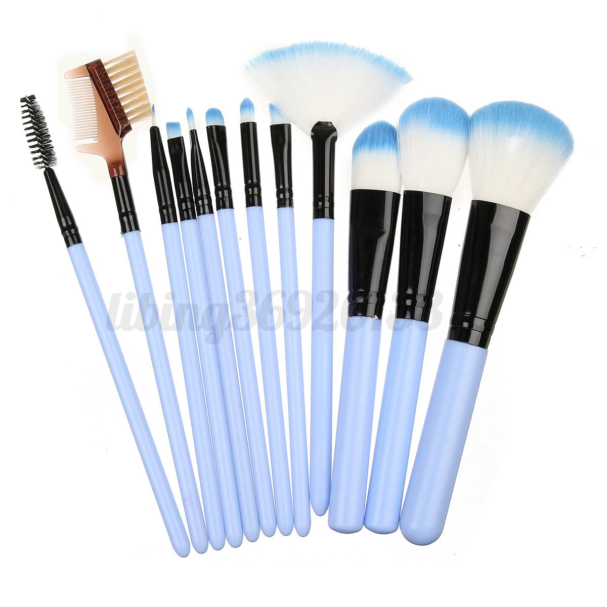 kit 12pcs professionnel pinceaux brosse base maquillage cosm tiques cylindre ebay. Black Bedroom Furniture Sets. Home Design Ideas
