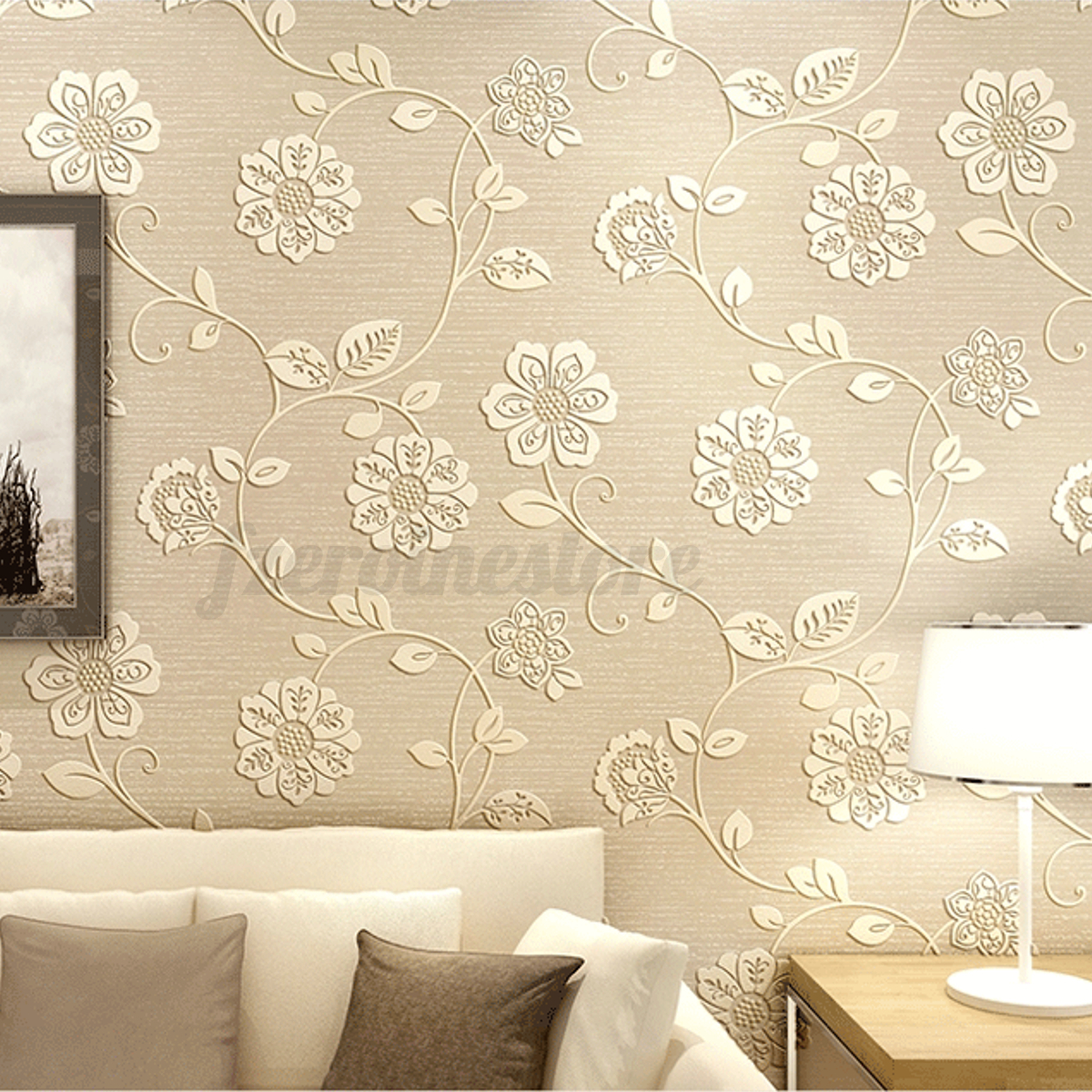 10m Luxury Flower Floral Embossed Textured Home Room Wallpaper Wall