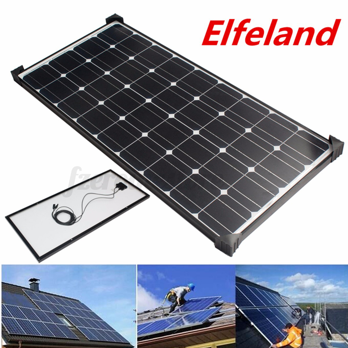 100watt 12v 100w Solar Panel Solarpanel 5m Cable Bracket