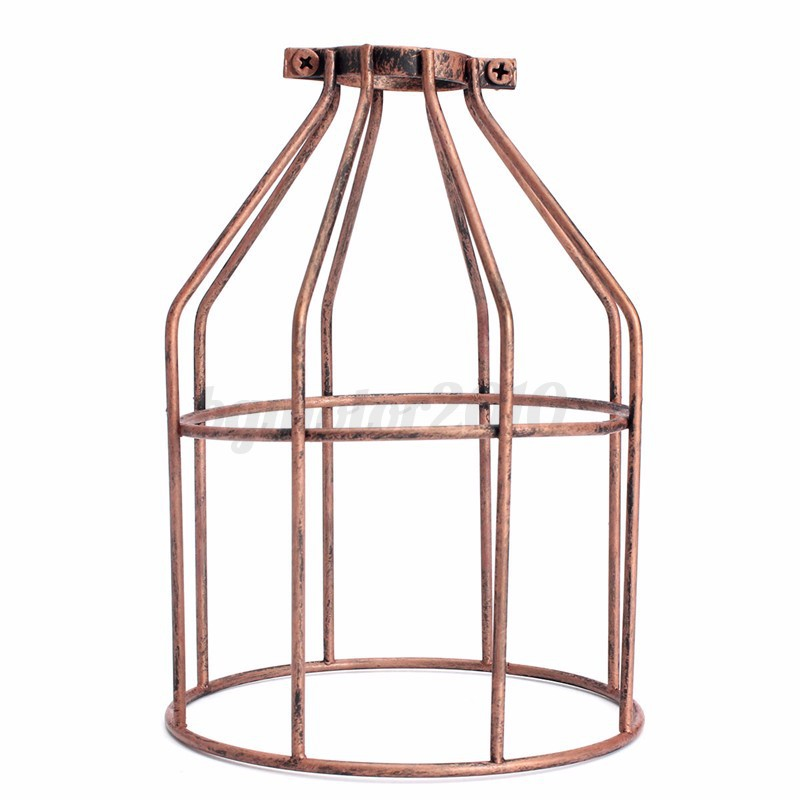 vintage loft ampoule lamp plafond abat jour pendentif cage protection industriel ebay. Black Bedroom Furniture Sets. Home Design Ideas