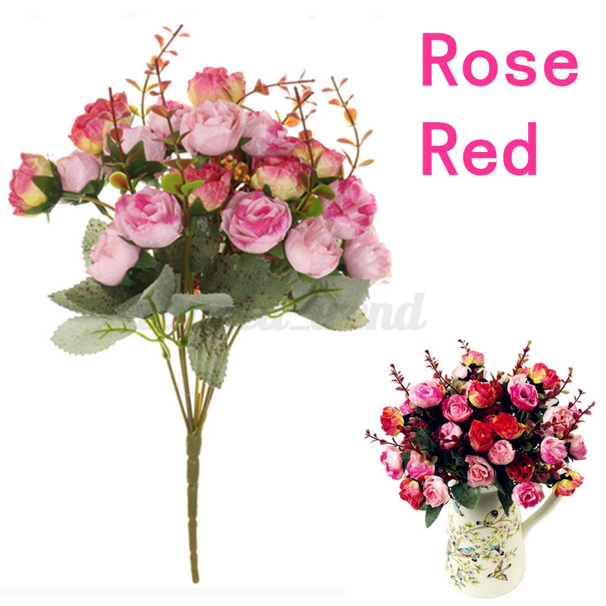 1 Bouquet 21 Head Concise Artificial Rose Silk Flower Leaf Home
