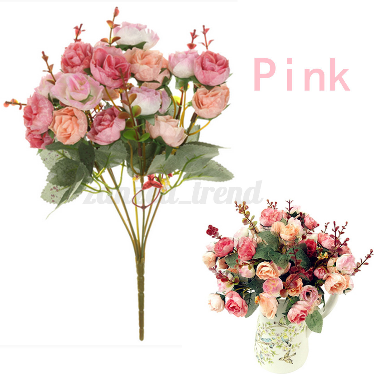 1 Bouquet 21 Head Concise Artificial Rose Silk Flower Leaf Home