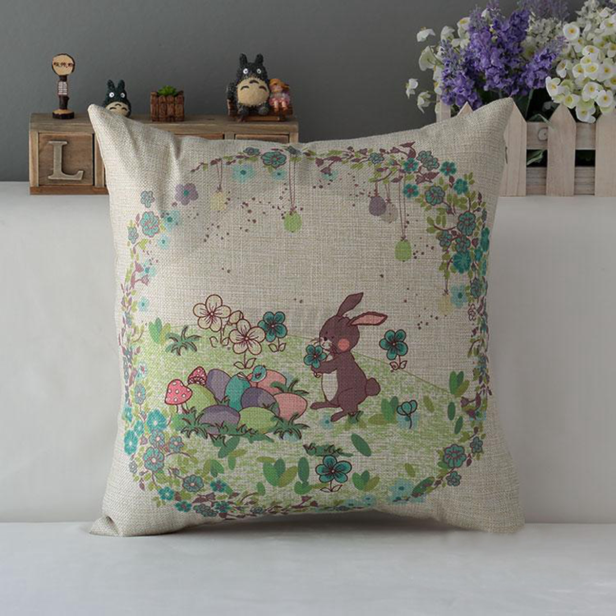 Easter day egg rabbit bunny home decor cotton linen pillow for Rabbit decorations home