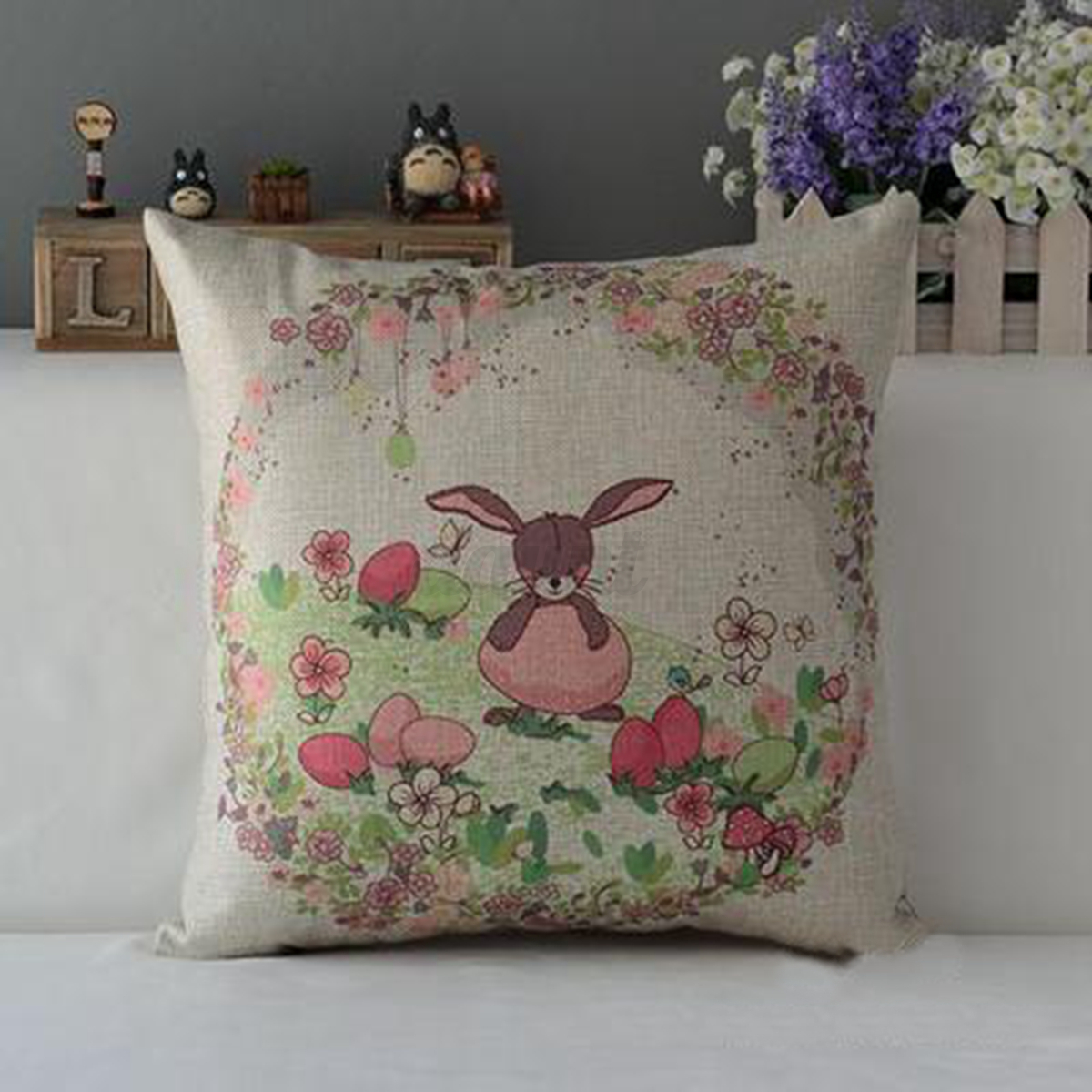 Http Www Ebay Com Itm Easter Day Egg Rabbit Bunny Home Decor Cotton Linen Pillow Case Cushion Cover 112270947319