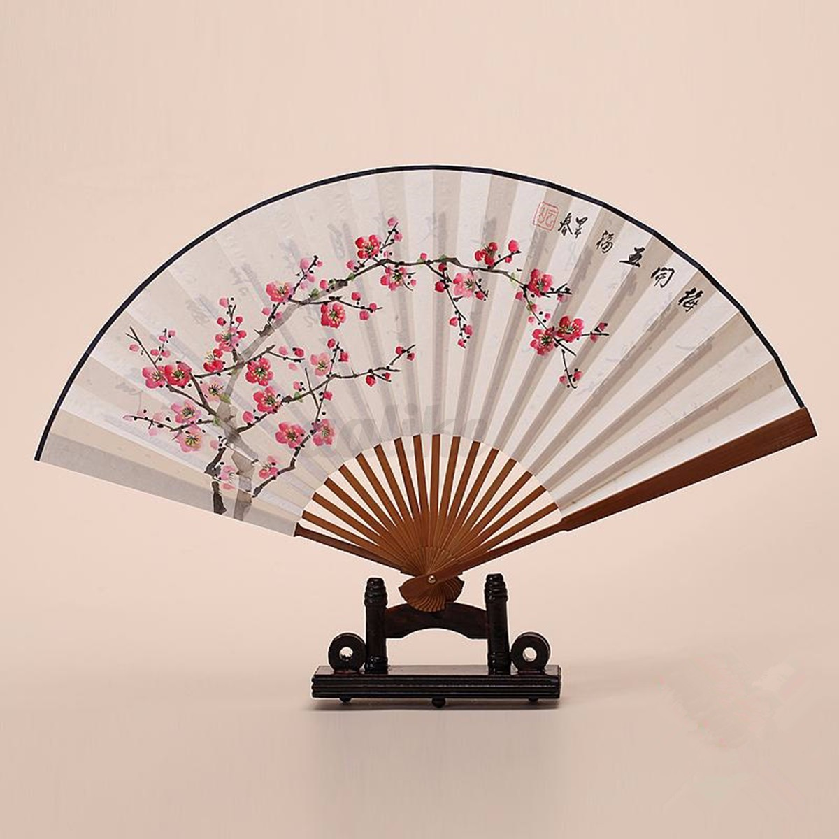 Hand Fan Stand : Wood hand fan stand base display for silk paper lace