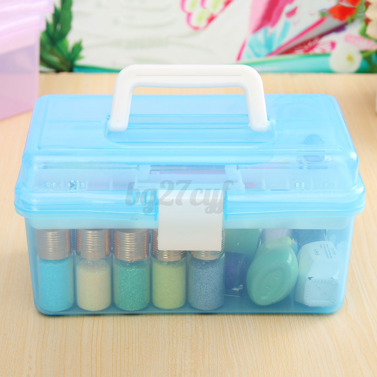 2 layers clear plastic jewelry bead storage box container for Craft storage boxes plastic