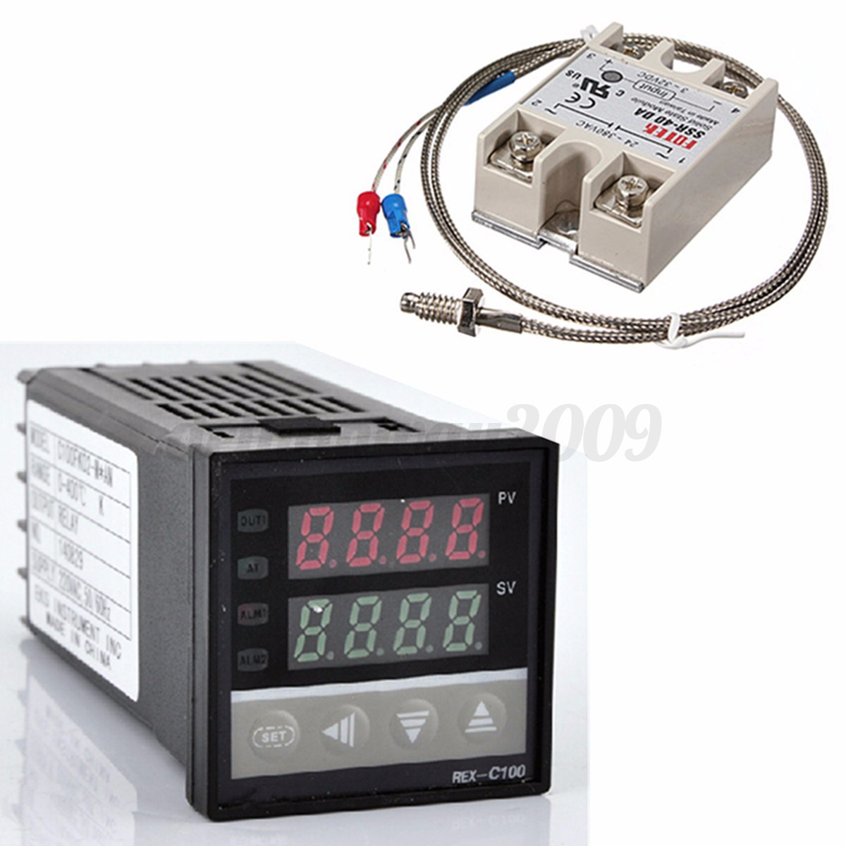 Digital LCD PID REX C100 Temperature Controller 40A SSR K Thermocouple  #795252