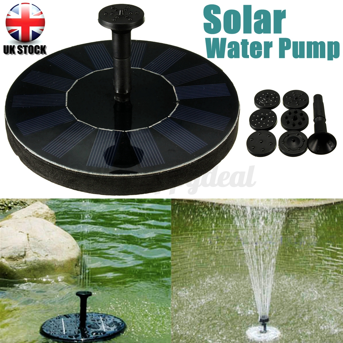 Garden pool pond solar panel powered submersible floating for Solar water pump pond