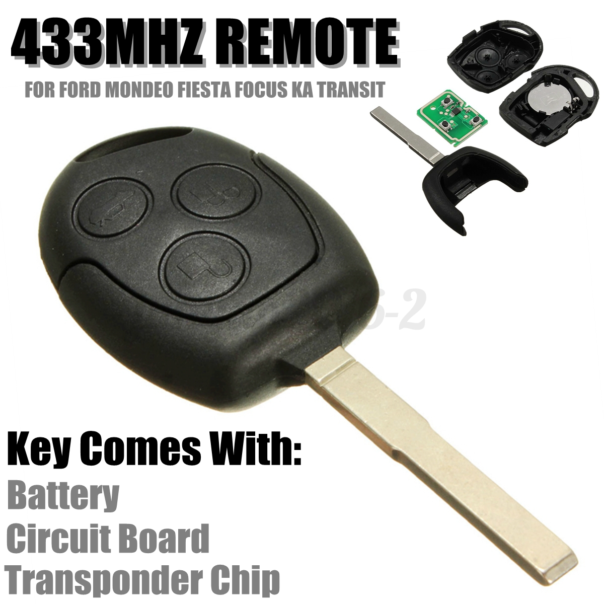 3 button 433mhz remote entry key fob for ford mondeo fiesta focus ka transit k2 ebay. Black Bedroom Furniture Sets. Home Design Ideas
