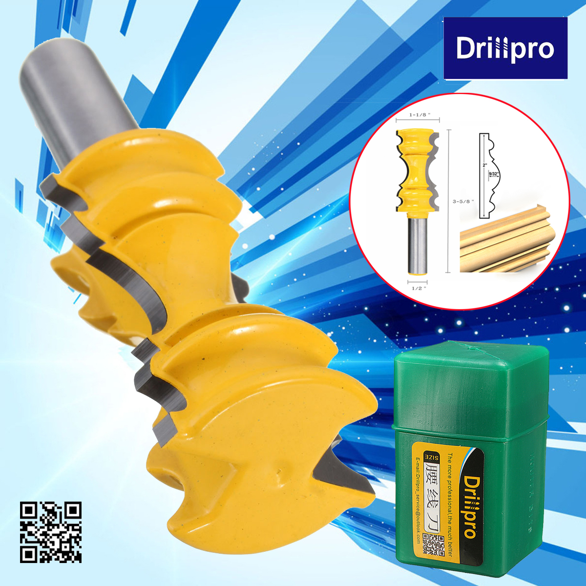 Drillpro Large Elaborate Chair Rail Molding Router Bit 1/2