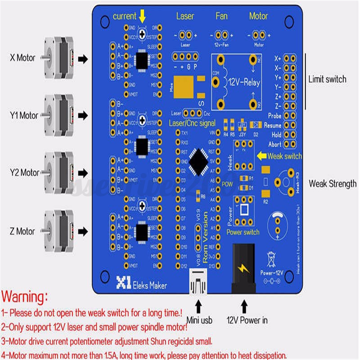3 axis stepper motor controller motherboard driver board for Stepping motors and their microprocessor controls