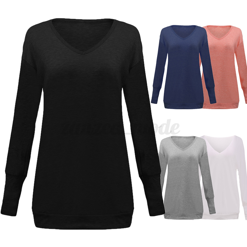 Belle-Femme-Confor-Col-V-Manche-Longue-Casuel-Loose-Bouffant-Haut-Tops-Shirt miniature 3