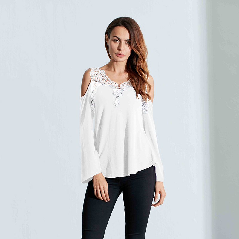 2df210b608be74 UK Women Sexy Cold Shoulder Lace Flared Sleeve Party Evening T Shirt ...