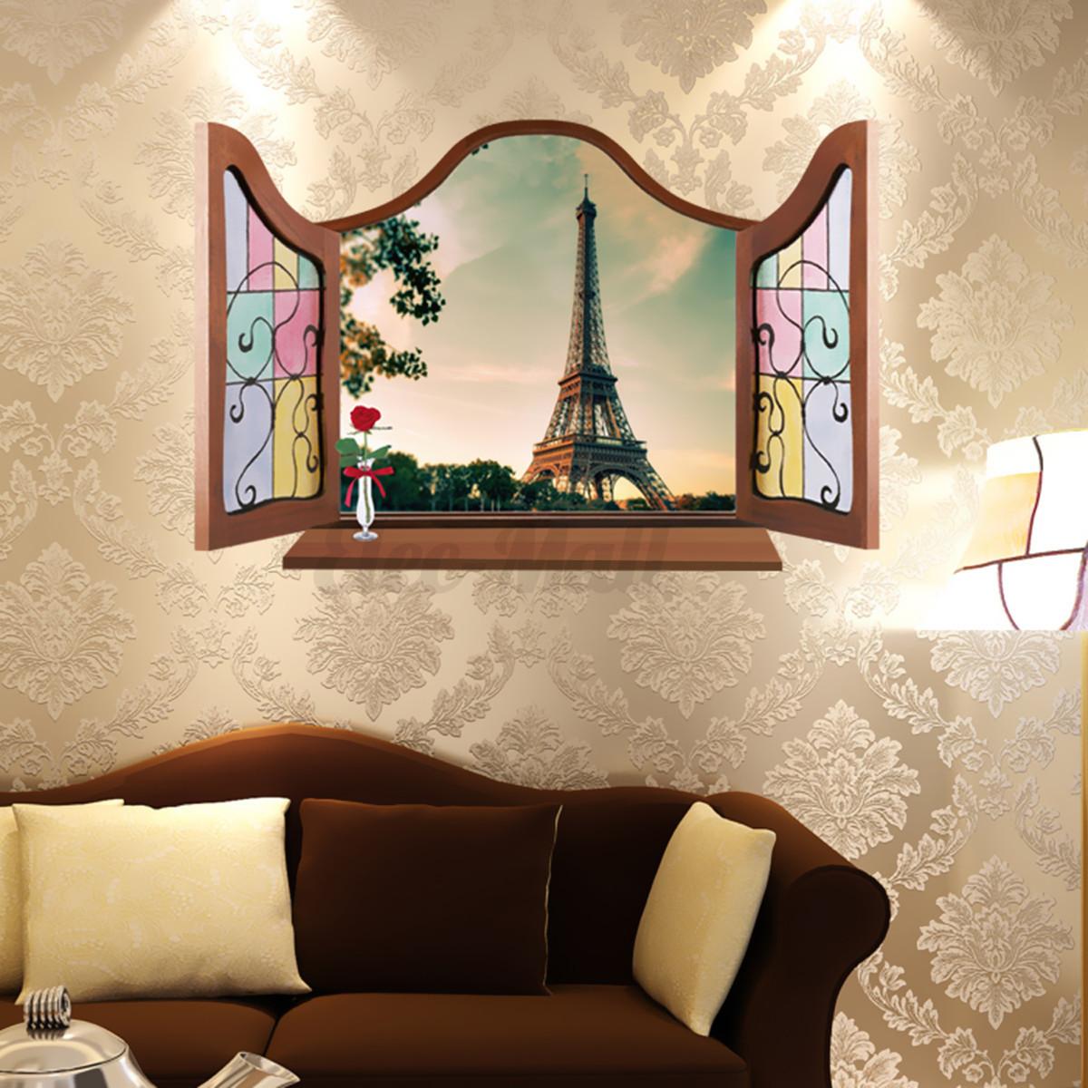 Removable paris eiffel tower window art mural decal for Eiffel tower wall mural ikea