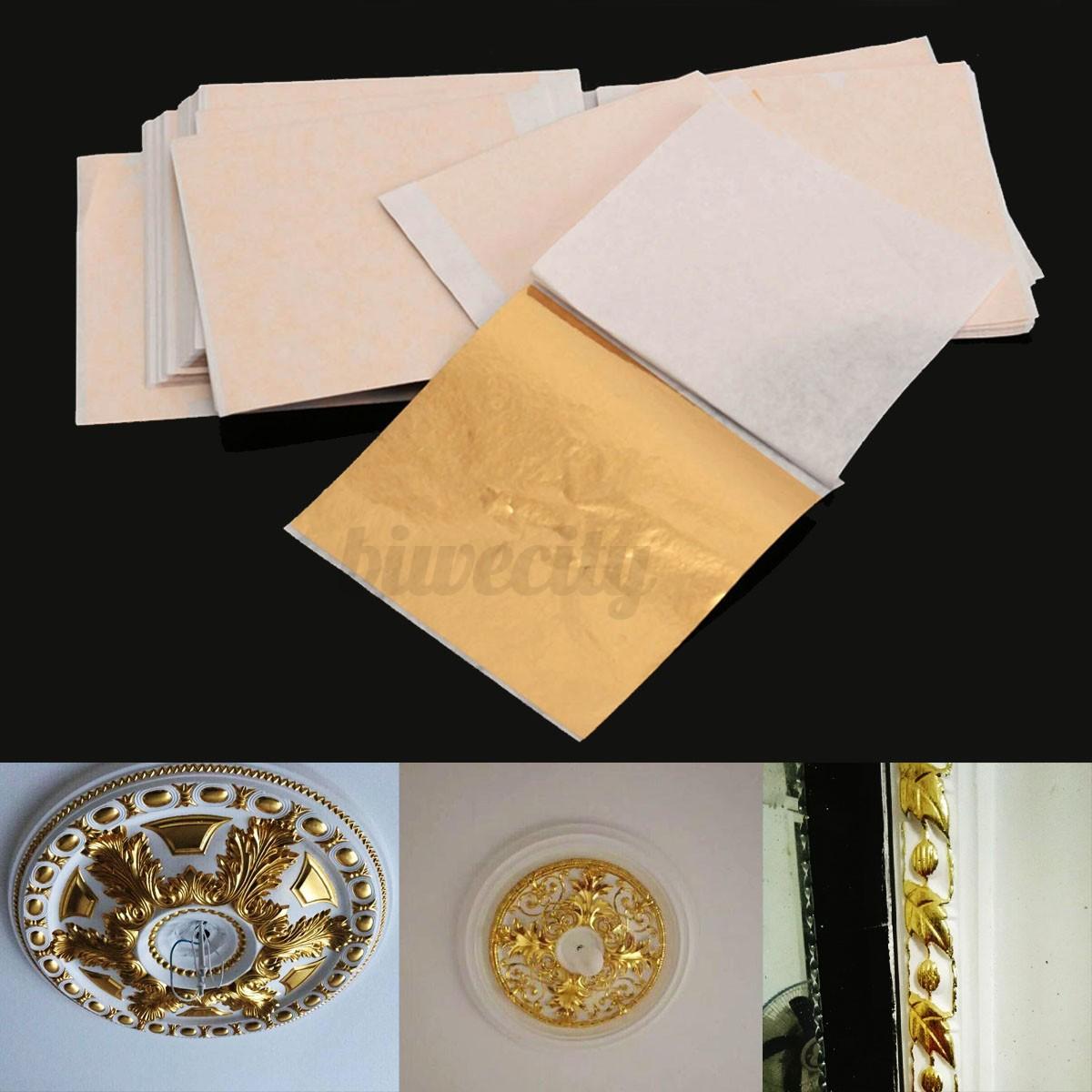 100 sheet imitation gold leaf champagne gold foil paper. Black Bedroom Furniture Sets. Home Design Ideas