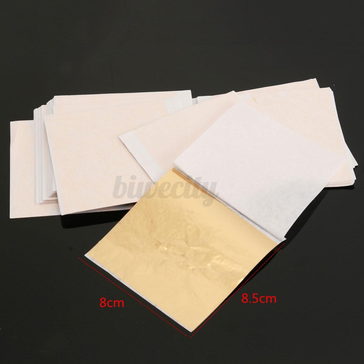 100 sheet imitation gold leaf champagne gold foil paper for Silver foil paper craft