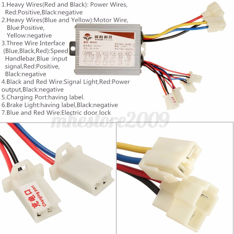 New Electric Bike Brush Motor Controller 24V 500W 30A for Electric ...