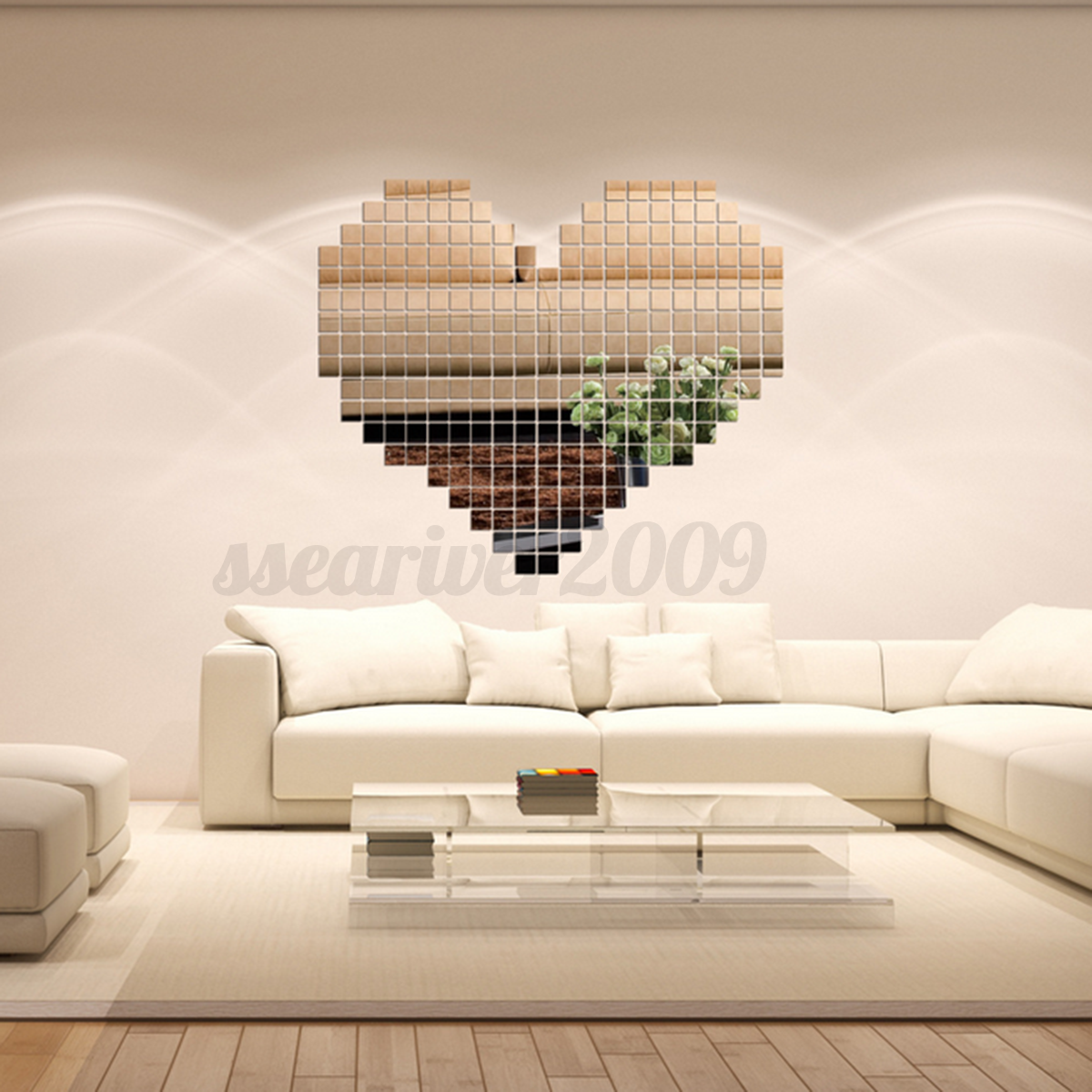 Details About 100pcs Diy 3d Decal Mirror Tile Mosaic Wall Sticker Mural Living Room Home Decor