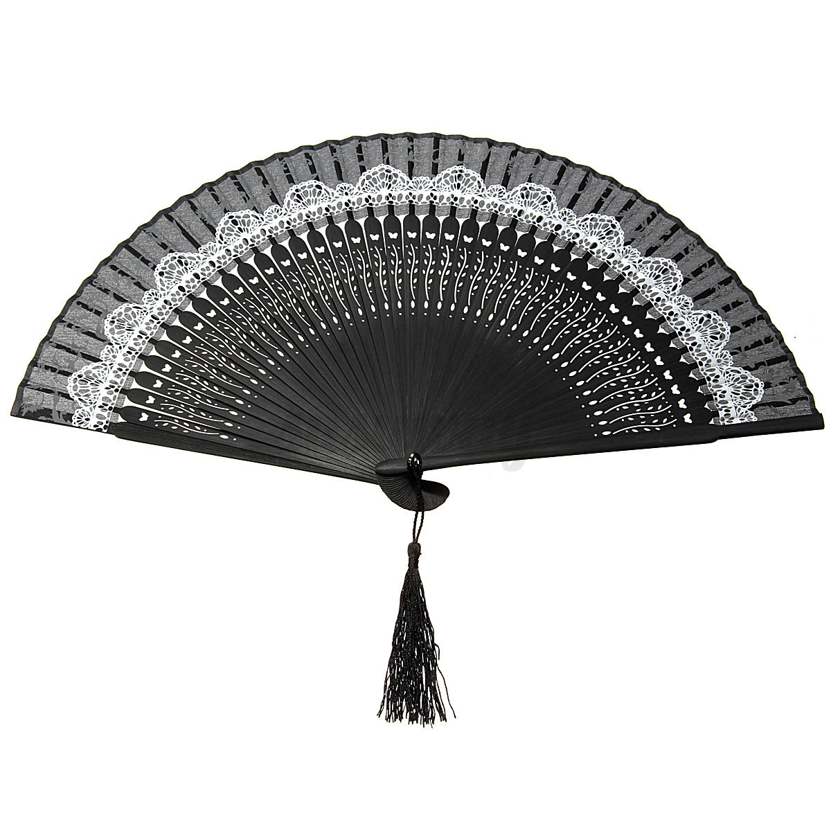 new chinese silk lace folding flower hand held fan wedding. Black Bedroom Furniture Sets. Home Design Ideas