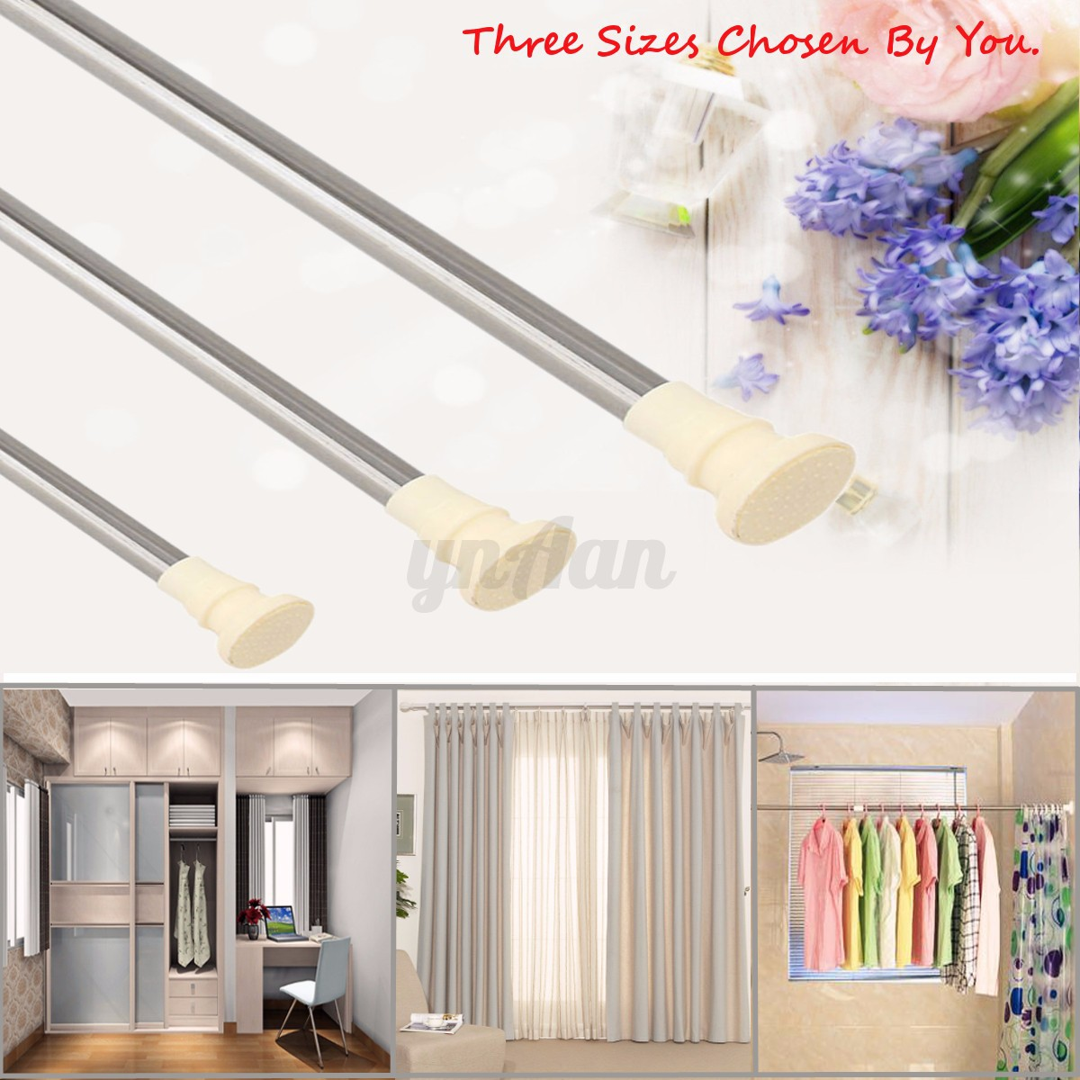 Spring loaded extendable net voile tension hanging shower curtain rail - Detail Image