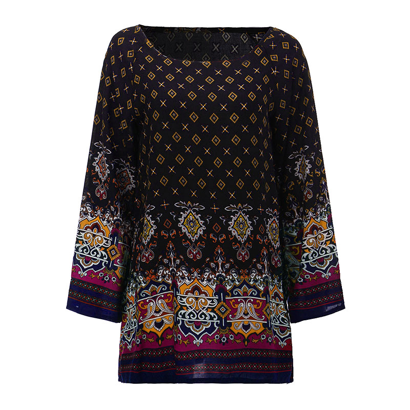New uk 8 24 hippy women floral summer beach loose tops for Long beach ny shirts