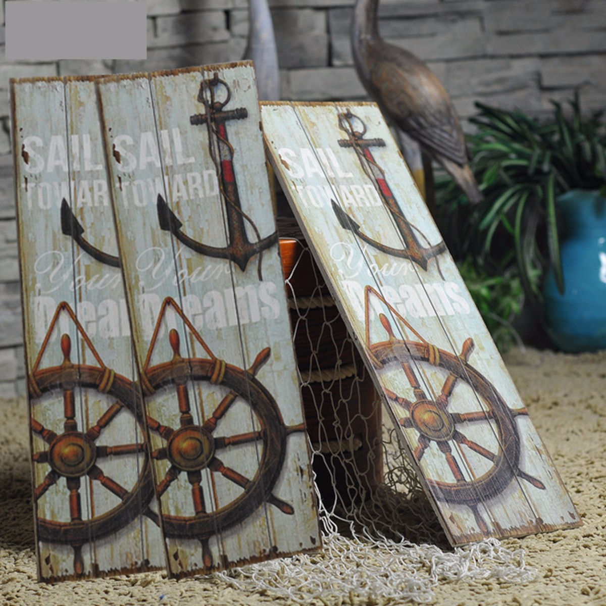 Details About Us Vintage Anchor Picture Nautical Decor Rustic Wooden Sign Plaque Home Wall