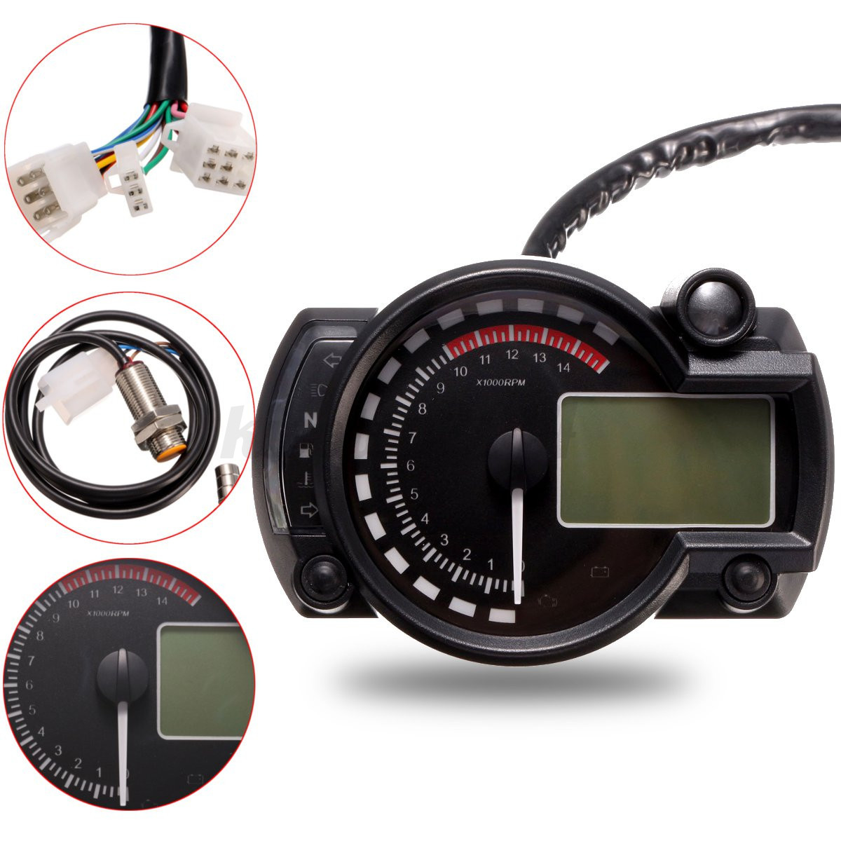 Electronic Speedometer Gauges : Rpm motorcycle universal lcd digital speedometer