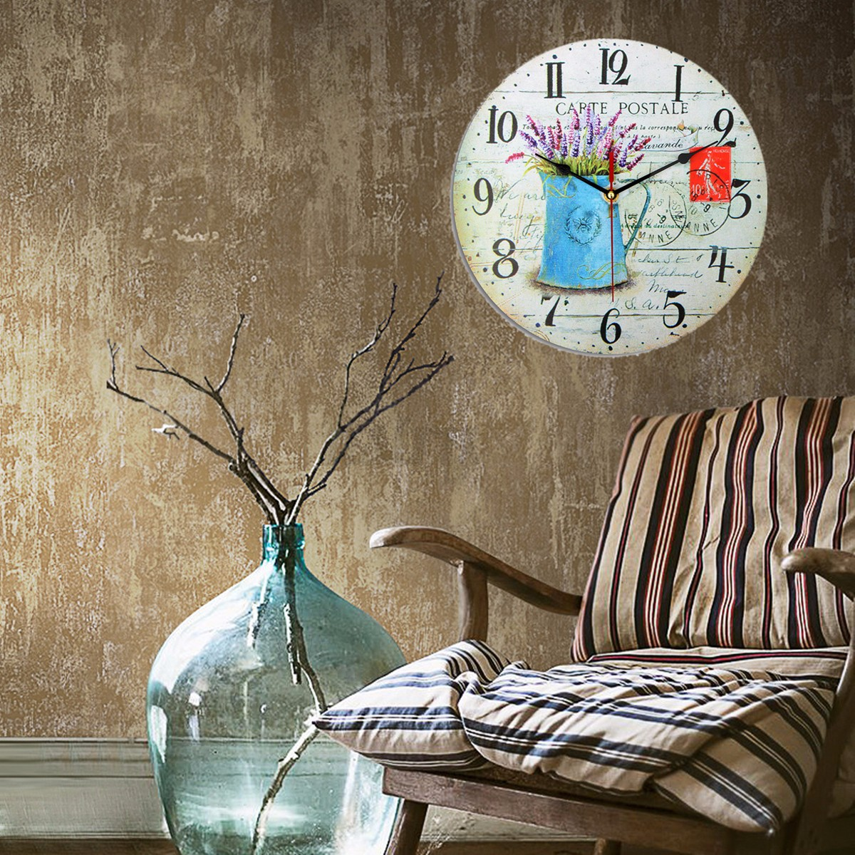 vintage wall clock wooden rustic retro shabby chic office home kitchen decor art. Black Bedroom Furniture Sets. Home Design Ideas
