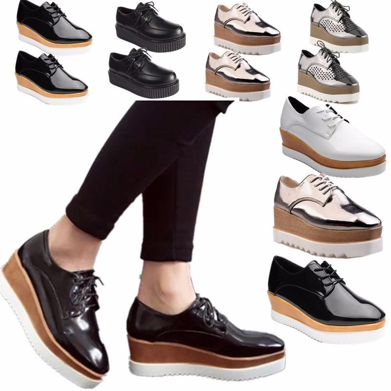 Mujer Punk Zapatos Planos Cuña Tacones Grueso Plataforma Oxford Mocasines Shoes