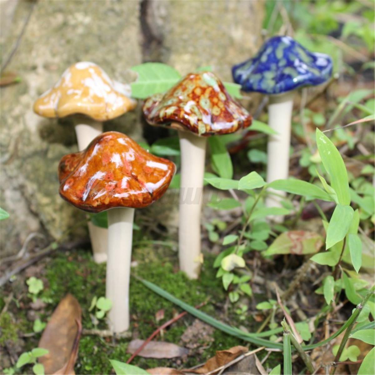 4 Pcs Cute Ceramic Pottery Mushroom Model Statues Ornament Yard ...