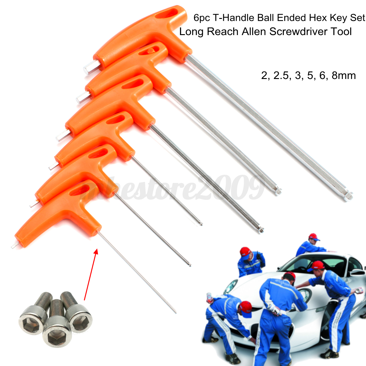 6pcs T Handle Allen Wrench Ball End Hex Key Set Long Reach