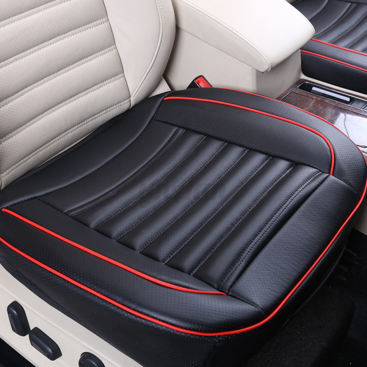 Noir pu cuir voiture auto si ge coussin housse cover for Housse voiture cuir