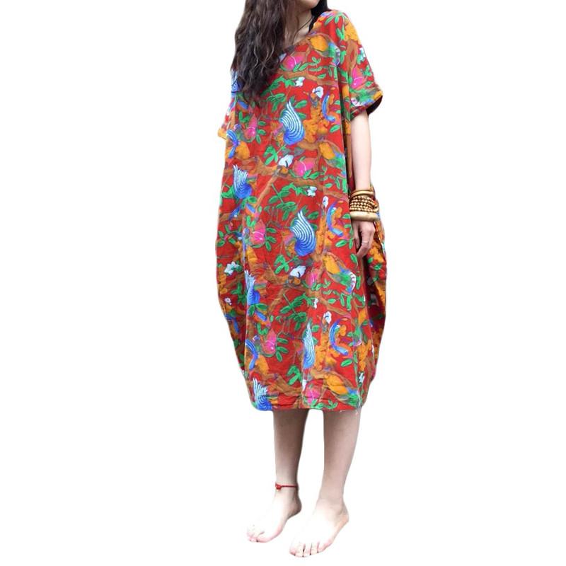 Women-Oversized-Short-Sleeve-Floral-Loose-Print-Long-Maxi-Midi-Dress-Tops-Kaftan