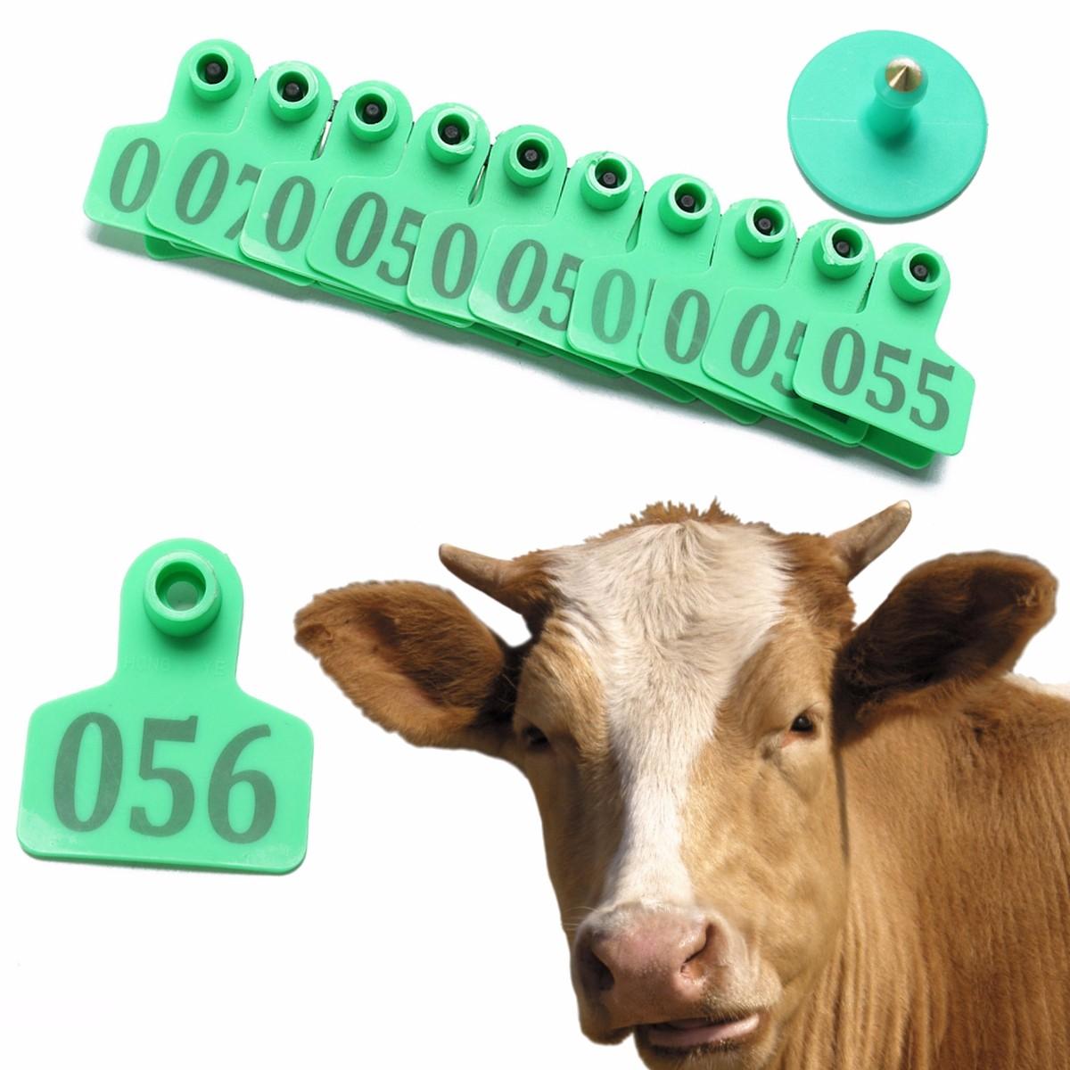 100 pcs Ear Tag Sheep Goat Pig Cattle Cow Farm Animals Livestock Green