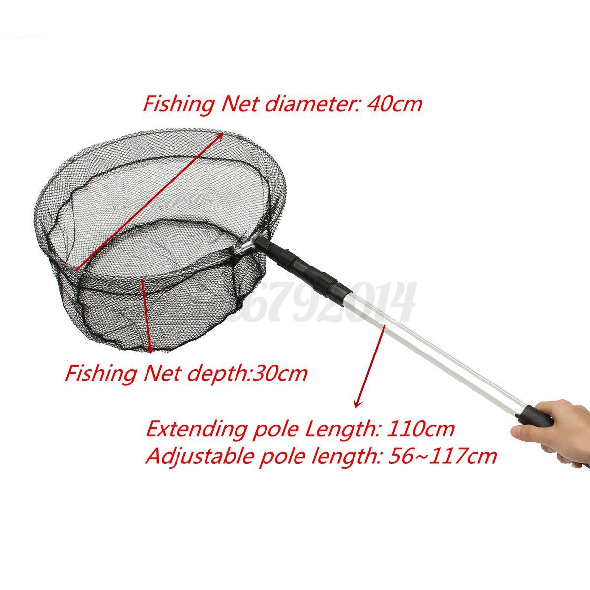 Telescopic folding fishing landing net extending tele pole for Fishing landing net