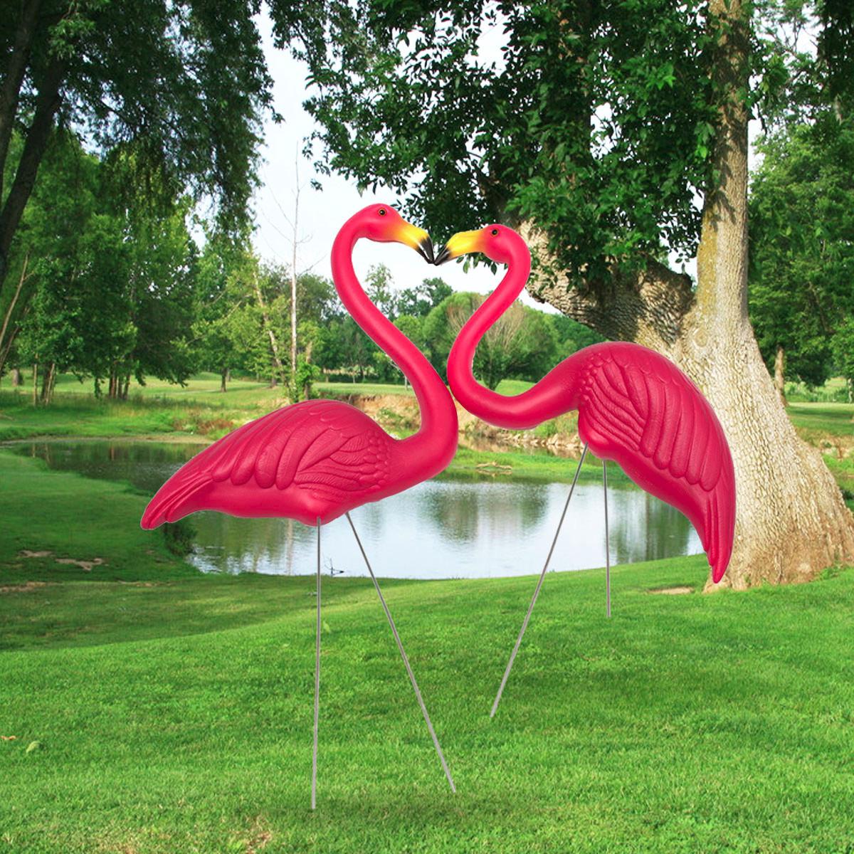100cm pair of pink lawn pond flamingo figurine garden for Garden pond ornaments uk