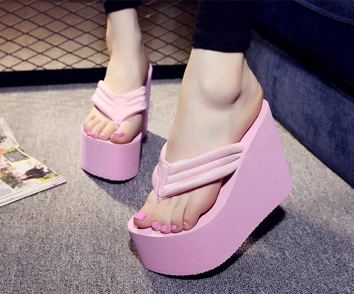 5f8b75342d299 Women s Flip Flops High Slippers Wedge Platform Heel Shoes Summer Antiskid  Beach
