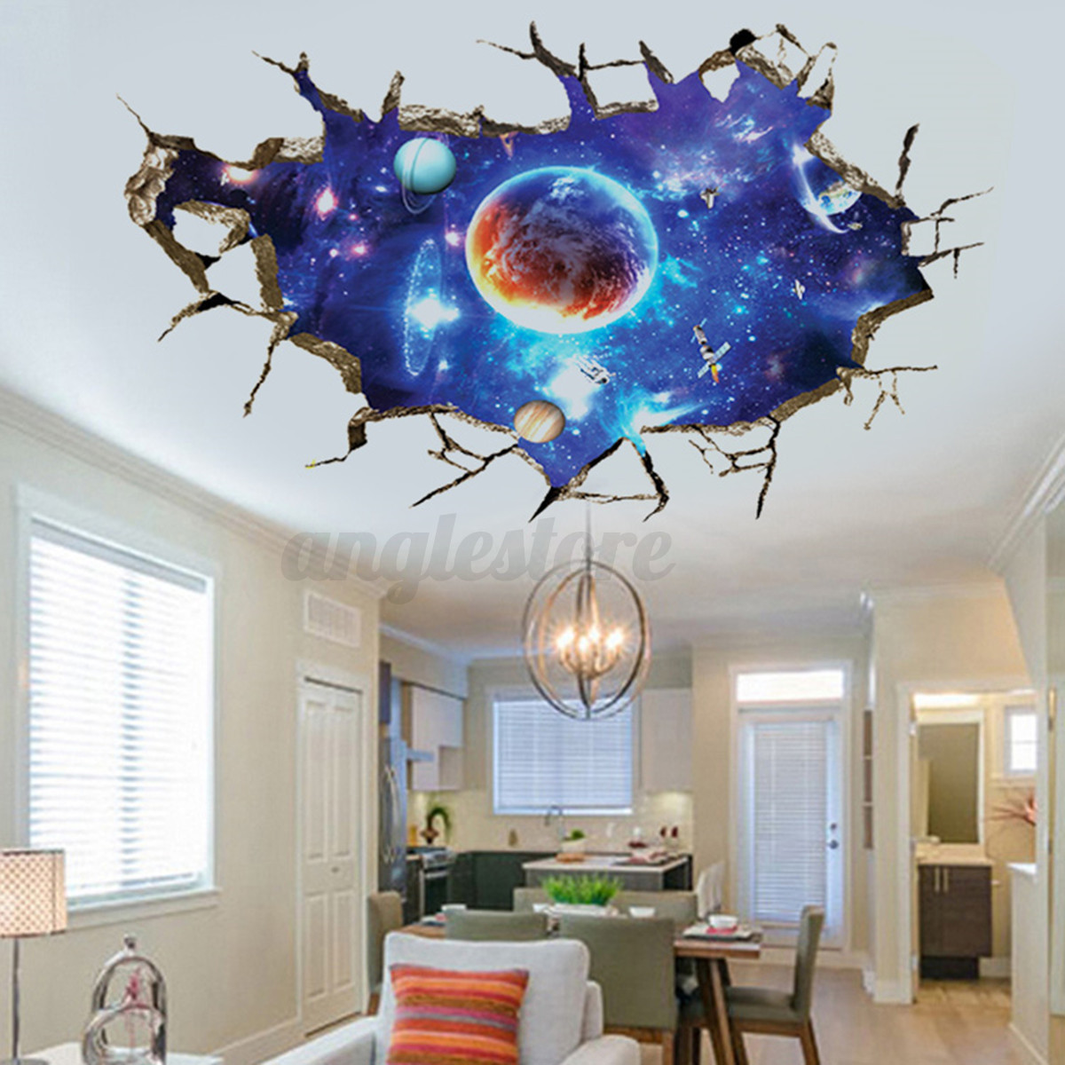 3d planet outer space wall stickers home decor mural art
