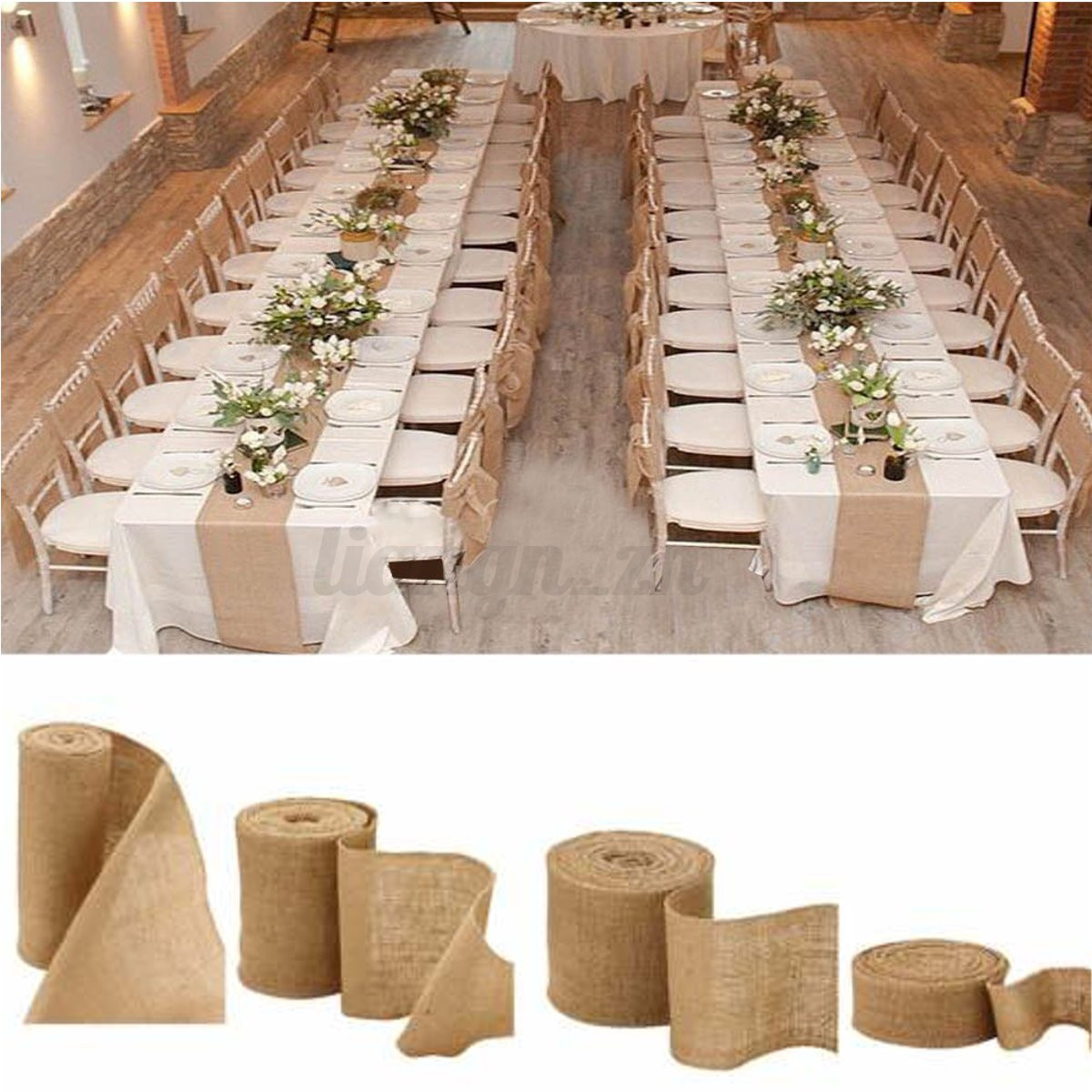 10m rouleau ruban de toile jute hesse bande diy d coration mariage 4 tailles ebay. Black Bedroom Furniture Sets. Home Design Ideas