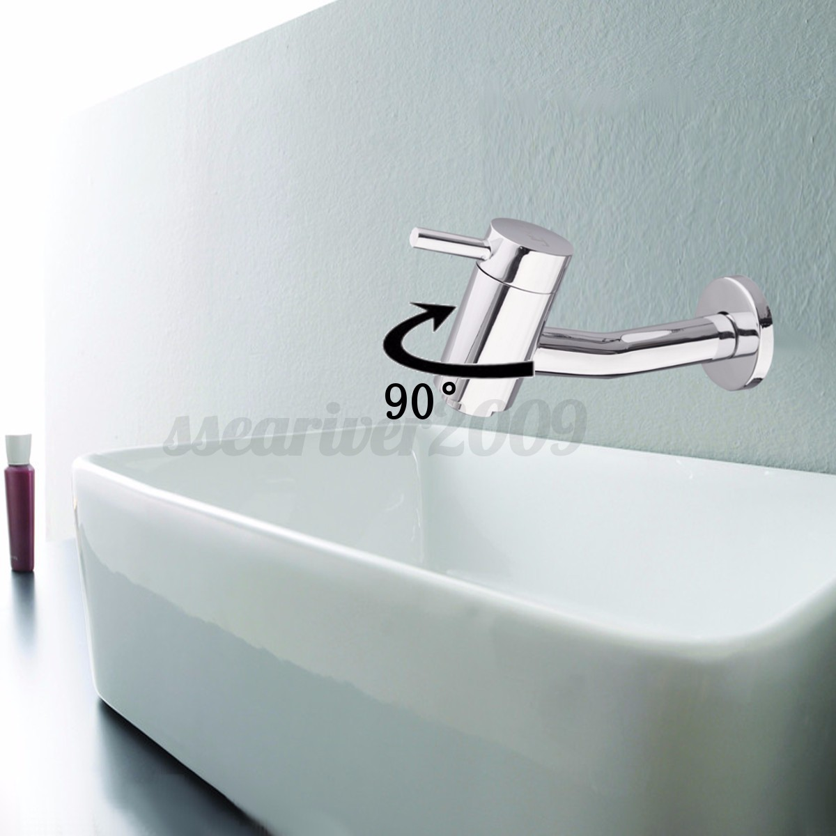 robinet 90 rotatif mural cascade lavabo evier laiton sink tap bassin salle bain ebay. Black Bedroom Furniture Sets. Home Design Ideas