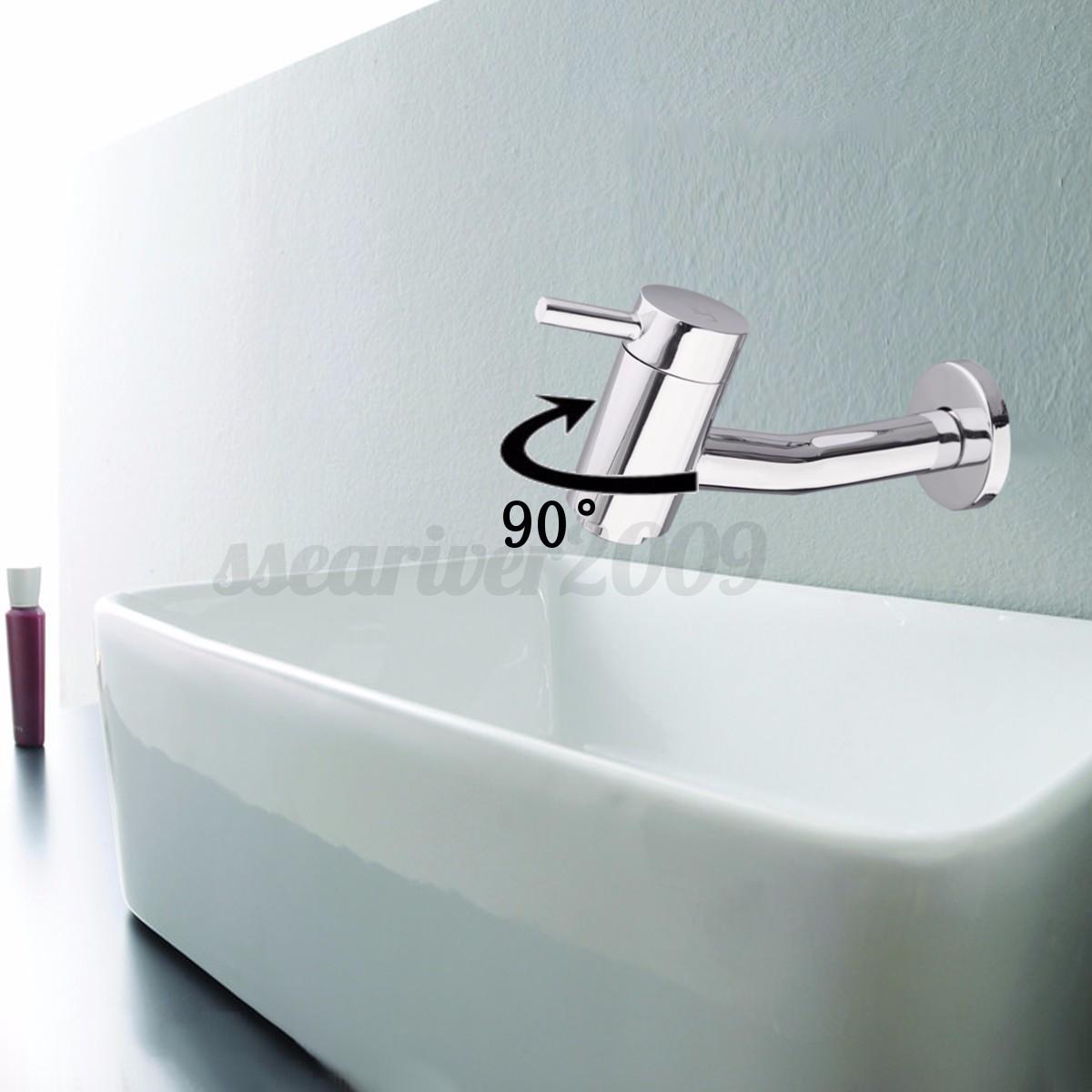 robinet 90 rotatif mural cascade lavabo evier laiton sink tap bassin salle bain ebay. Black Bedroom Furniture Sets. Home Design Ideas