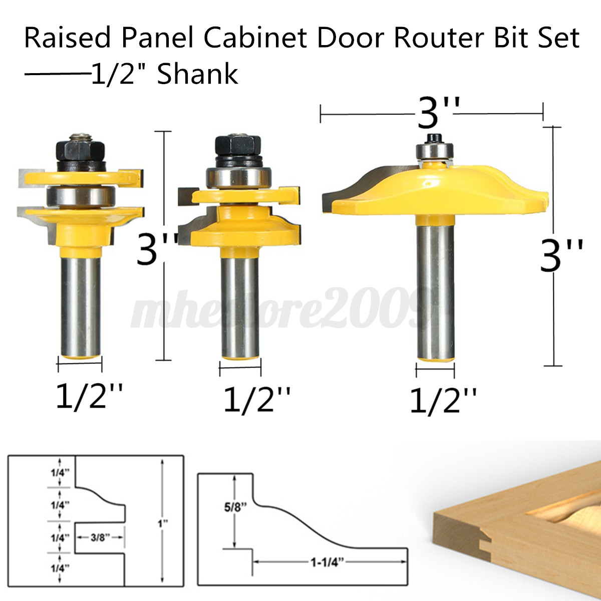 3pcs ogee rail stile raised panel cabinet door router for Raised panel door templates