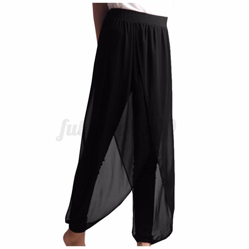 AU-STOCK-Women-039-s-Casual-Loose-Chiffon-Pants-Dress-Harem-Yoga-Trousers-New-Slacks