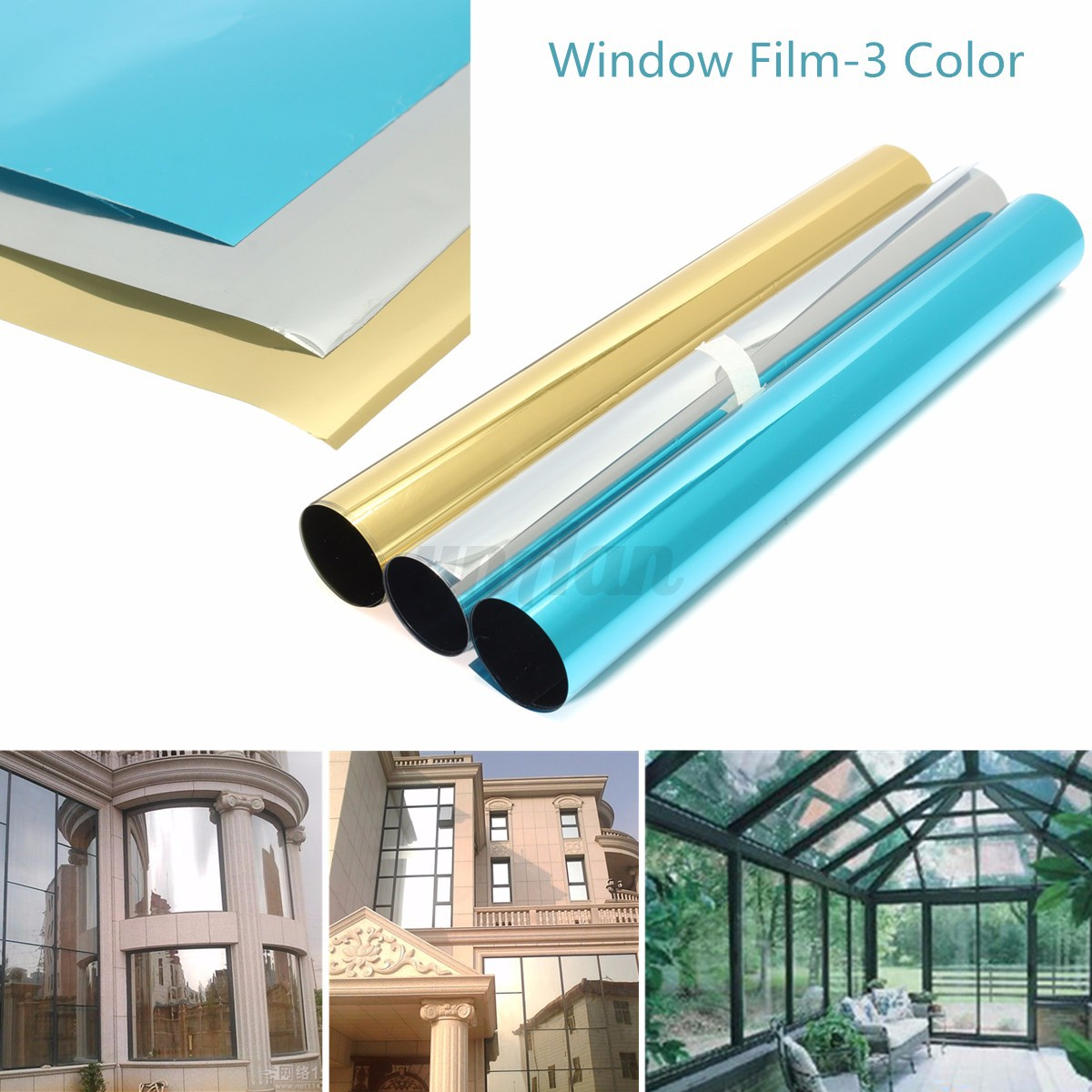 solar reflective one way mirror privacy window film insulation paper stickers ebay. Black Bedroom Furniture Sets. Home Design Ideas