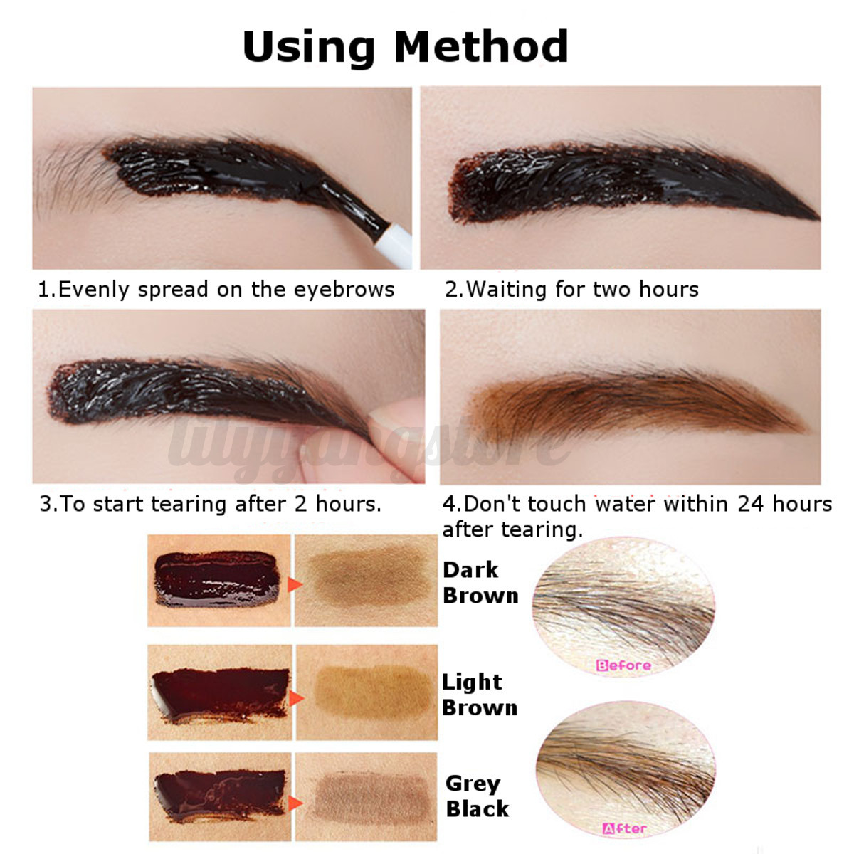 3 colors makeup peel off eyebrow tint my brows gel for Tattoo eyebrow tint