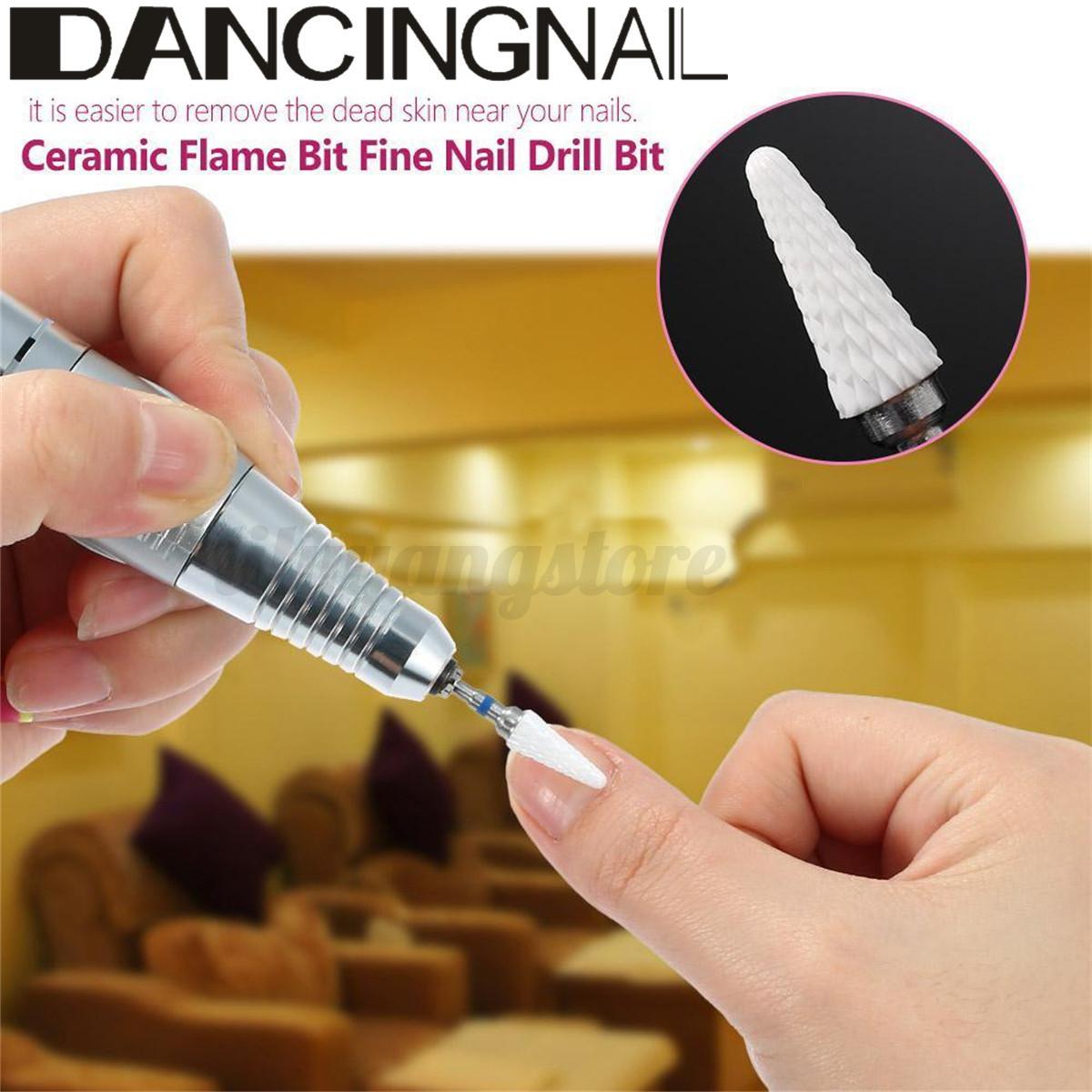 Ceramic Nail File Drill Bit Barrel Smooth Stop Cuticle Flame Remove ...
