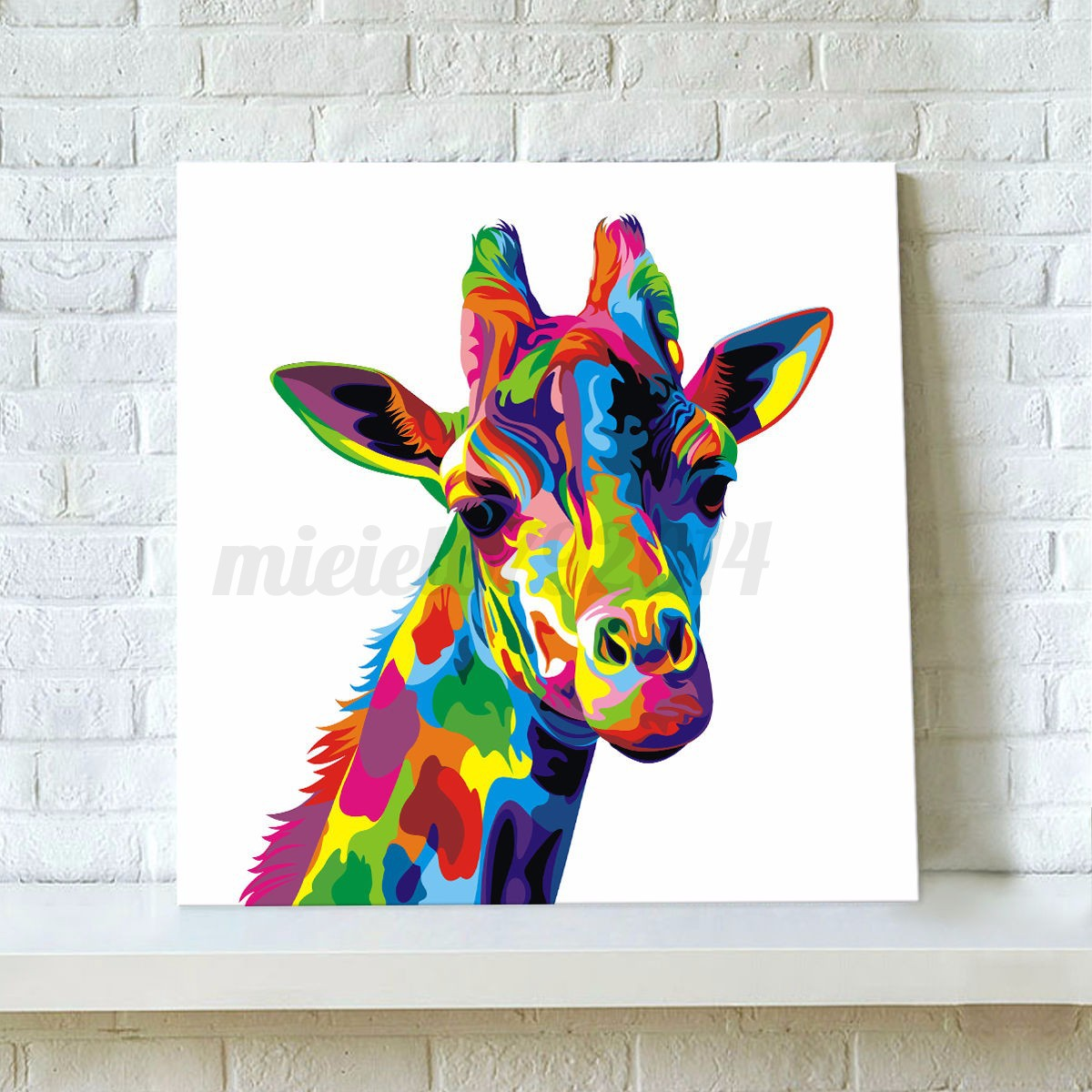 Colourful giraffe animal canvas painting print picture for Picture wall decor